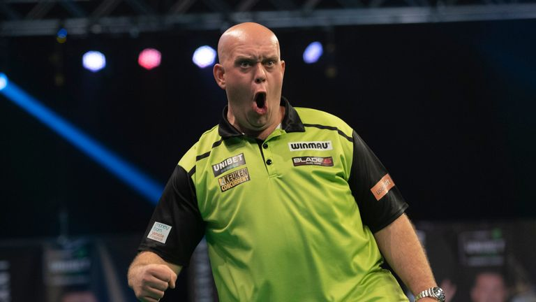 Michael van Gerwen against Dimitri Van den Bergh on Night 10 of the Premier League