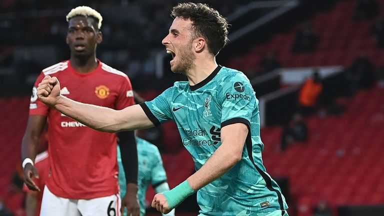 Diogo Jota celebrates his equaliser against Manchester United