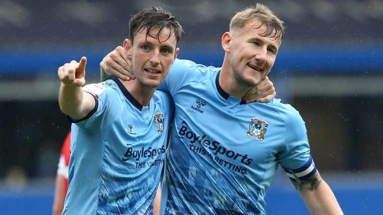Coventry City's Dominic Hyam (left) celebrates scoring their third goal of the game