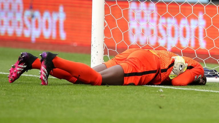 Edouard Mendy appears injured before being replaced at half-time