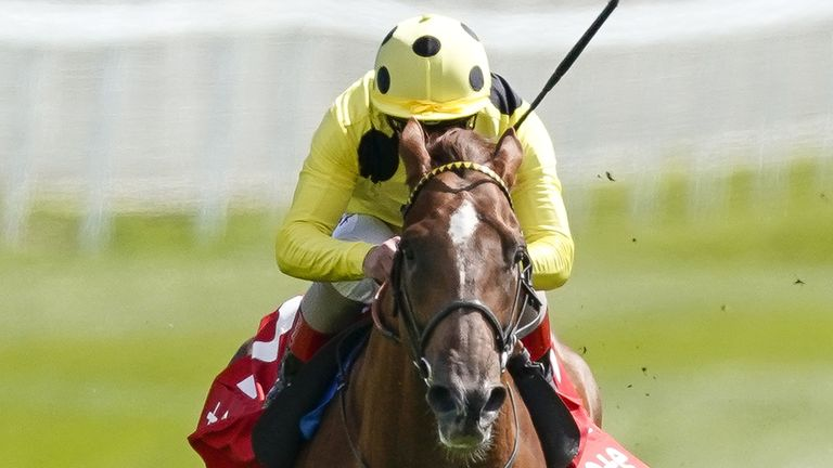 El Drama ridden by Andrea Atzeni on their way to winning the Dee Stakes at Chester