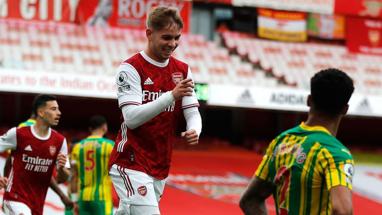 Emile Smith Rowe celebrates after giving Arsenal the lead