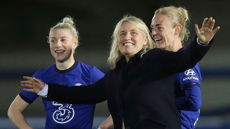 Emma Hayes celebrates after the Women's FA Cup victory