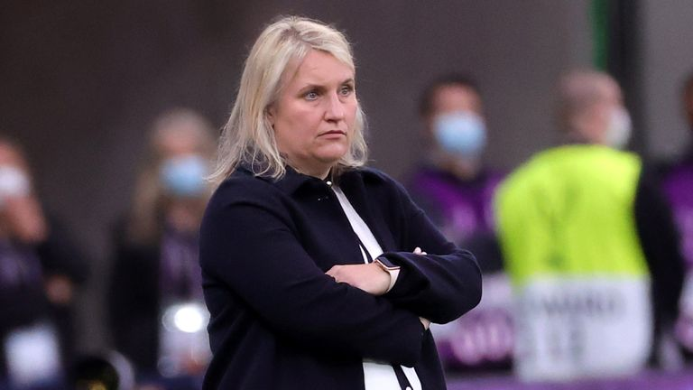 Chelsea manager Emma Hayes appears frustrated during the UEFA Women's Champions League final