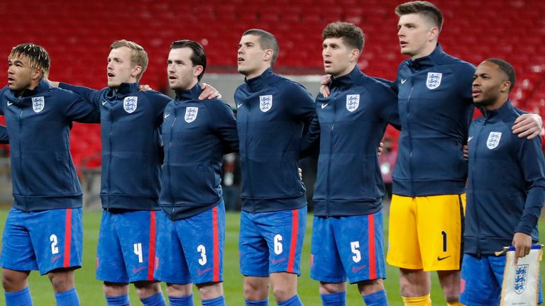 England players line up for national anthem (PA)