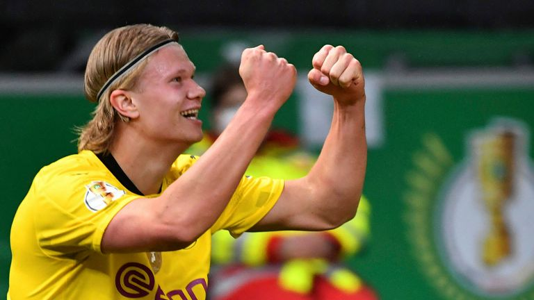Erling Haaland scored his 37th and 38th goals of the season in Dortmund's big win