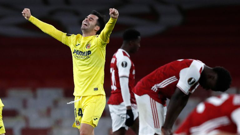 Contrasting emotions at the final whistle as Villarreal seal victory over Arsenal in the Europa League
