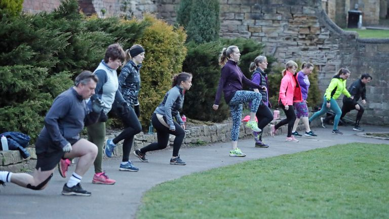 "People taking part in a ""Boot Camp"" exercise class in Springhead Park, Rothwell, Leeds, following the easing of England's lockdown to allow far greater freedom outdoors. Picture date: Monday March 29, 2021."
