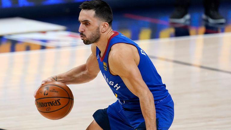 Denver Nuggets guard Facundo Campazzo (7) in the first half of an NBA basketball game Sunday, Feb. 14, 2021, in Denver. (AP Photo/David Zalubowski)
