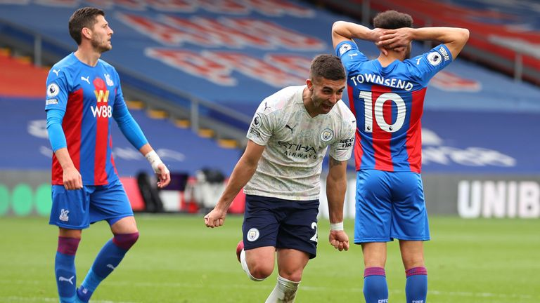 Ferran Torres celebrates after scoring a quickfire second for Man City
