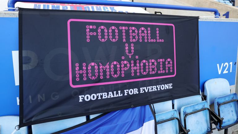 LEICESTER, ENGLAND - FEBRUARY 28: Football v Homophobia campaign banners at King Power Stadium ahead of the Premier League match between Leicester City and Arsenal at King Power Stadium on February 28, 2021 in Leicester, United Kingdom. Sporting stadiums around the UK remain under strict restrictions due to the Coronavirus Pandemic as Government social distancing laws prohibit fans inside venues resulting in games being played behind closed doors. (Photo by Plumb Images/Leicester City FC via Get