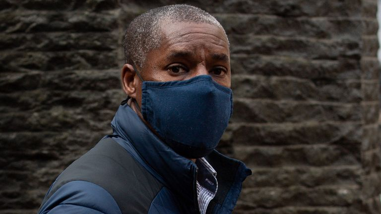 Kenroy Atkinson, the brother of former footballer Dalian Atkinson, arrives at Birmingham Crown Court