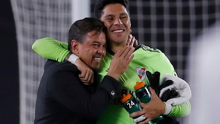 River Plate head coach Marcelo Gallardo celebrates with Enzo Perez after their victory over Independiente Santa Fe