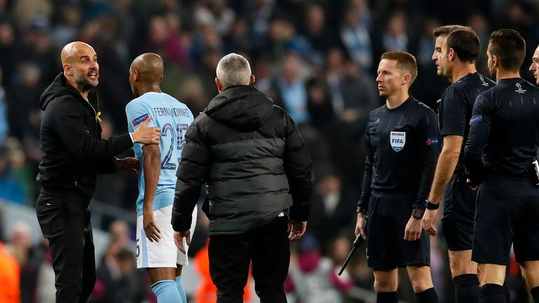 Guardiola was fuming with Lahoz following a wrongful offside call which was given against City three years ago