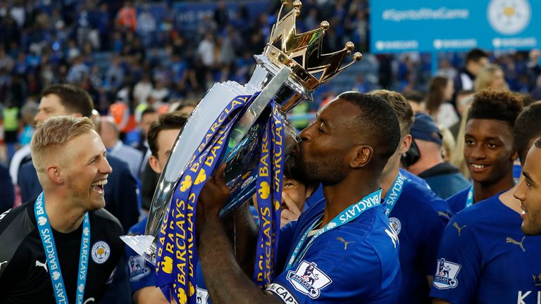 Wes Morgan with the Premier League trophy in 2016