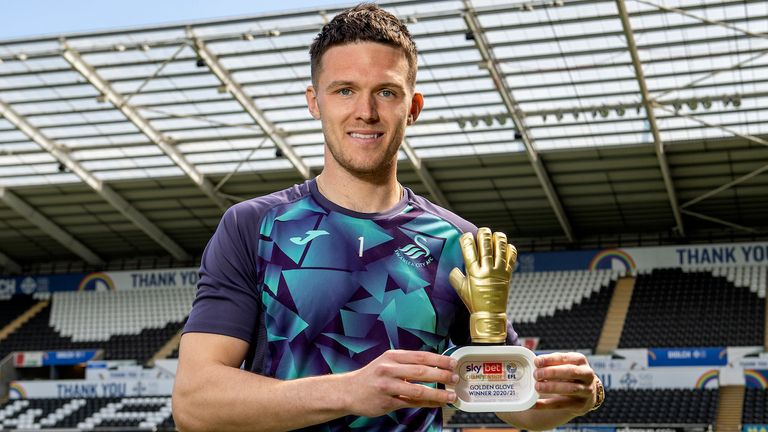 Pictured: Freddie Woodman of Swansea City with the Sky Bet EFL Championship Golden Glove Award at The Liberty Stadium in Swansea, Wales, UK. Friday 07 May 2020