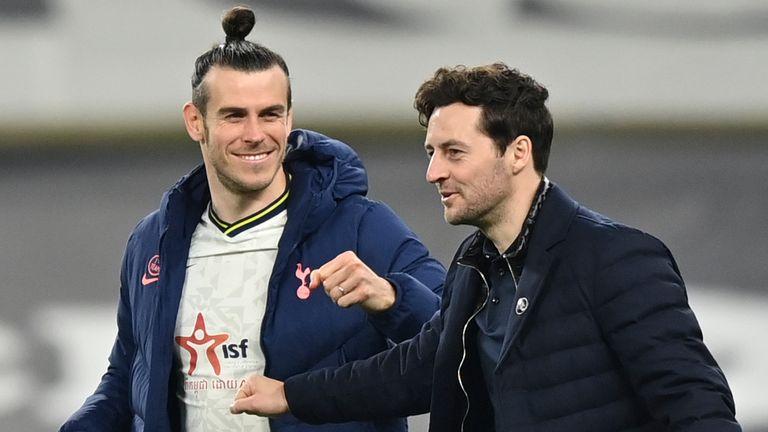 Gareth Bale shares his delight with interim boss Ryan Mason
