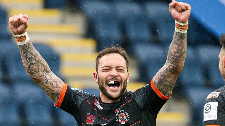Gareth O'Brien celebrates his extra time drop-goal, which saw Castleford into the Challenge Cup semi-finals