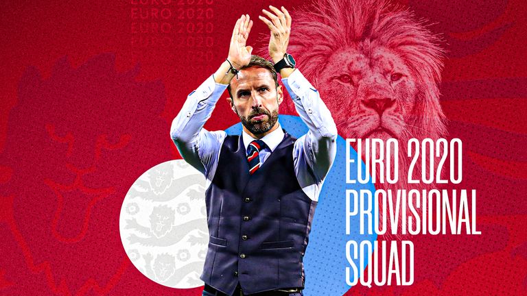 England manager Gareth Southgate names his provisional Euro 2020 squad at 1pm on Tuesday