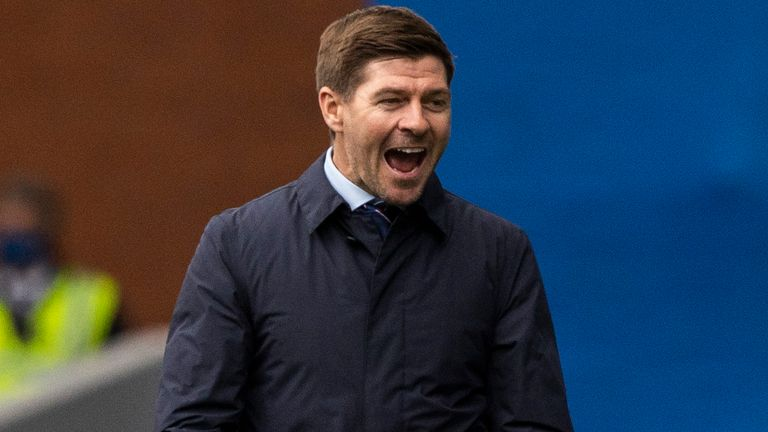 GLASGOW, SCOTLAND - MAY 02: Rangers Manager Steven Gerrard celebrates Rangers going 4-1 ahead during a Scottish Premiership match between Rangers and Celtic at Ibrox Park, on May 02, 2021, in Glasgow, Scotland. (Photo by Craig Williamson / SNS Group)