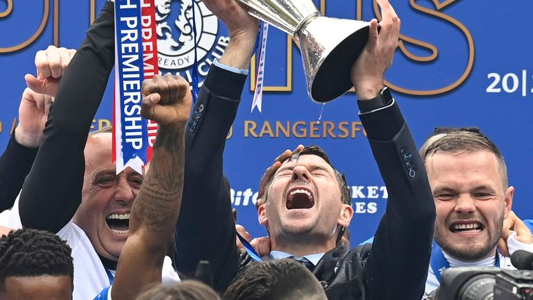 Rangers manager Steven Gerrard lifts the Premiership trophy during the Scottish Premiership match  between Rangers and Aberdeen  at Ibrox Stadium, on May 15, 2021, in Glasgow, Scotland. (Photo by Rob Casey / SNS Group)