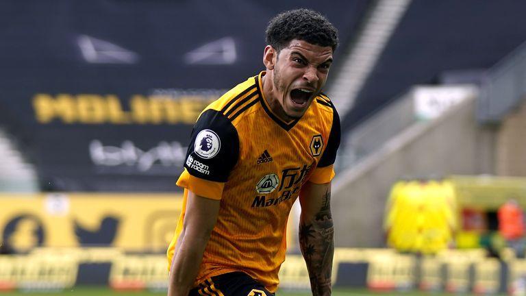 Morgan Gibbs-White celebrates his late winner for Wolves against Brighton