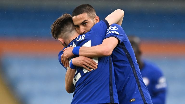 Hakim Ziyech celebrates the equaliser with team-mate Billy Gilmour