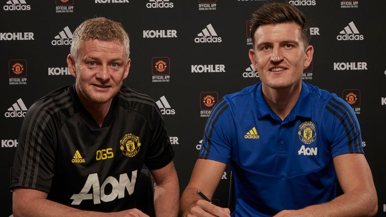 Harry Maguire signs for Man Utd in 2019