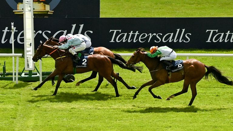 Hollie Doyle and True Self finished third behind Helvic Dream in the the Tattersalls Gold Cup