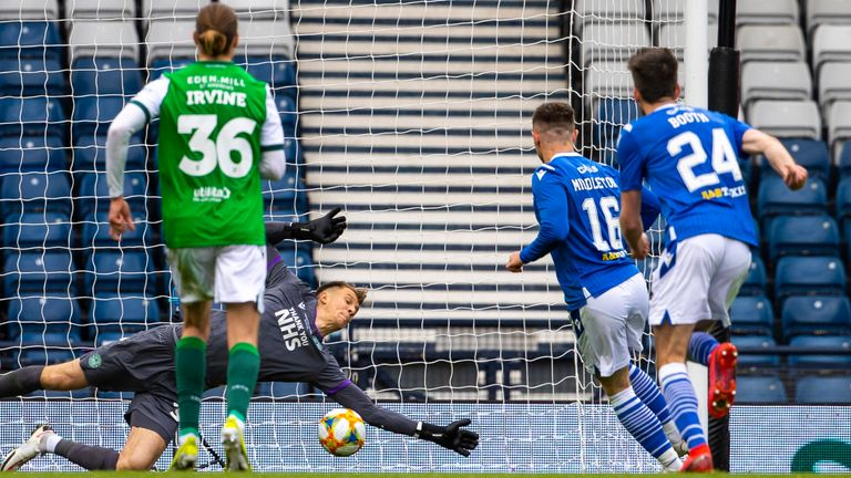 GLASGOW, SCOTLAND - MAY 22:  Hibs Goalkeeper Matt Macey saves a Glen Middleton penalty during the Scottish Cup final match between Hibernian and St Johnstone at Hampden Park, on May 22, 2021, in Glasgow, Scotland. (Photo by Alan Harvey / SNS Group)