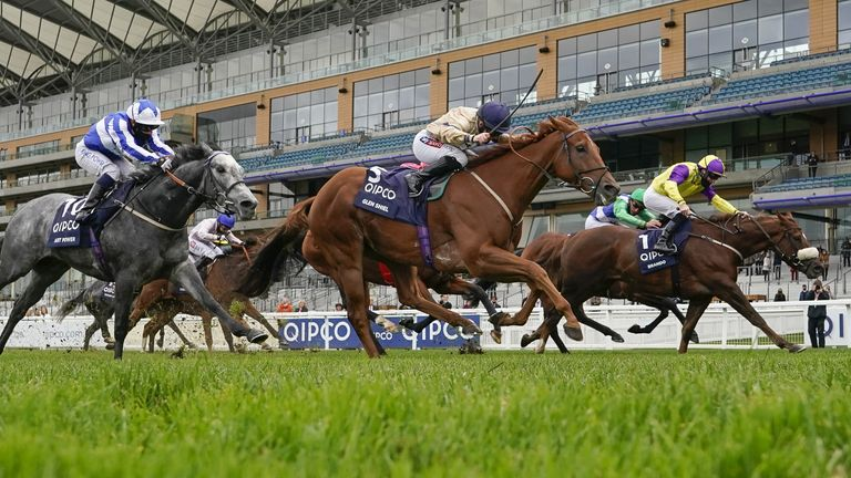 Ascot Races - October 17th 2020 Glen Shiel ridden by Hollie Doyle (centre) wins The Qipco British Champions Sprint Stakes at Ascot Racecourse.