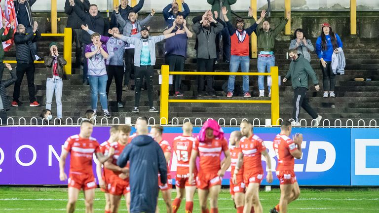 Hull KR fans clap their side after victory over Castleford in front of fans for the first time since the Covid-19 pandemic began