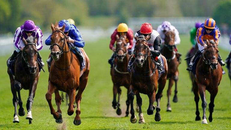 Hollie and Roman Empire (far right) eventually finished fourth behind William Buick riding Hurricane Lane (blue)