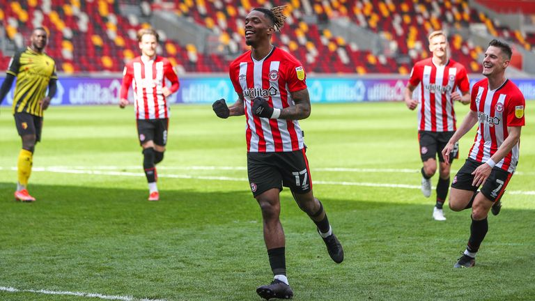 He equalled the Championship scoring record with a penalty in Brentford's 2-0 win over Watford on May 1