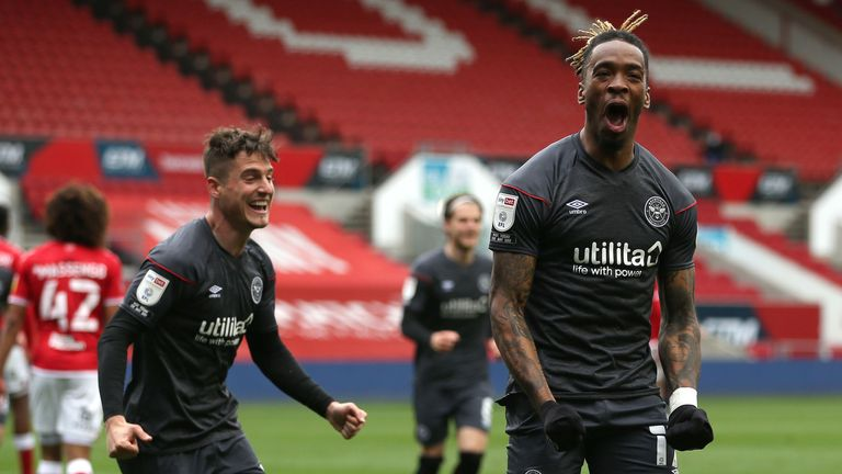 Brentford's Ivan Toney celebrates scoring his side's first goal of the game