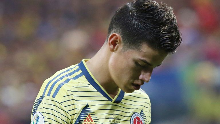James Rodriguez will miss Colombia's upcoming games because of injury