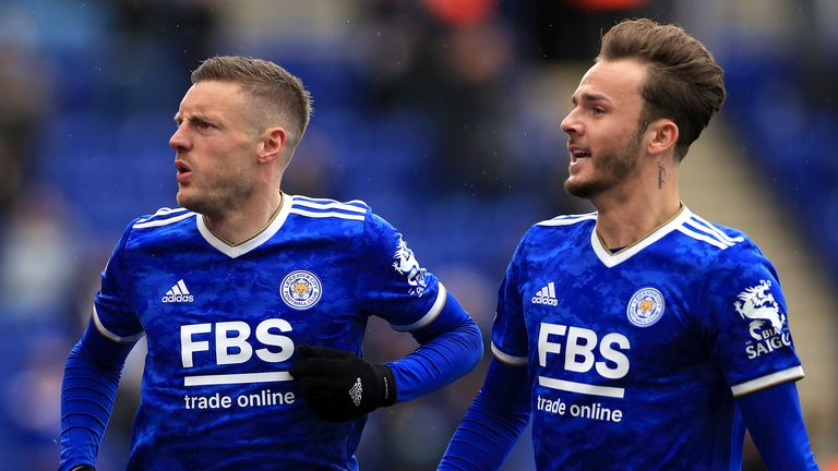 Leicester's Jamie Vardy and James Maddison in the new kit