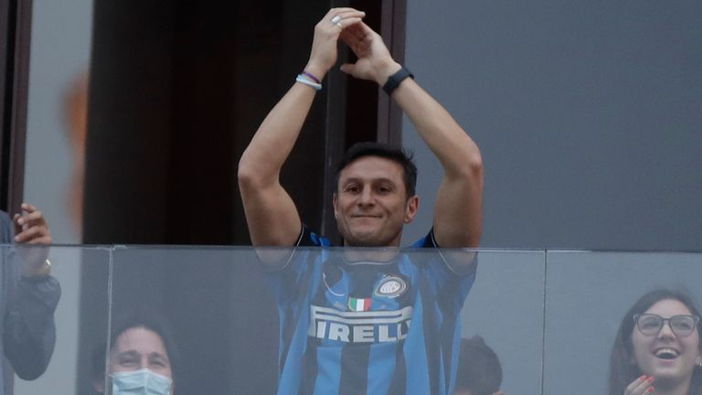 Inter Milan vice-president Javier Zanetti celebrates after Inter Milan won its first Serie A title in more than a decade after second-placed Atalanta drew 1-1 at Sassuolo, in Milan, Italy, Sunday, May 2, 2021. Atalanta needed to win to avoid Inter mathematically clinching the title with four matches remaining. It was Inter...s first trophy since 2011 and the first Serie A title since 2010. (AP Photo/Luca Bruno)