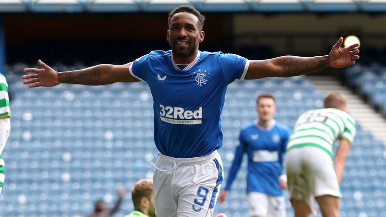 Jermain Defoe scored the Rangers'  final goal of Sunday's 4-1 win over Celtic