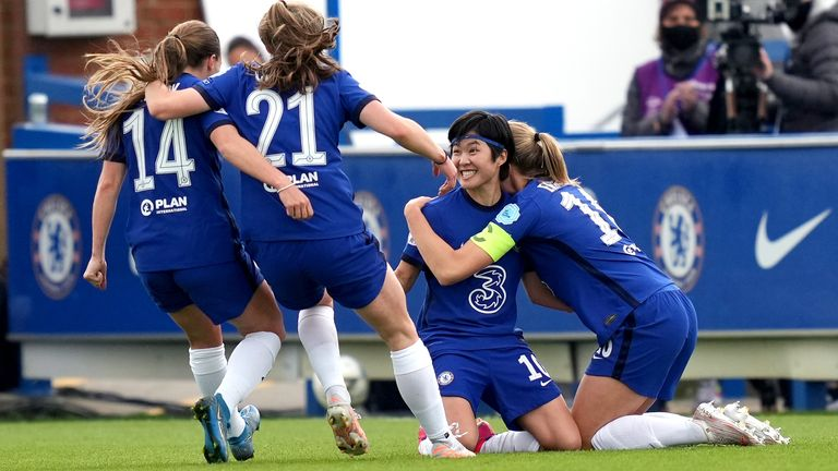 Chelsea's Ji So-yun celebrates after putting them 2-1 up against Bayern Munich