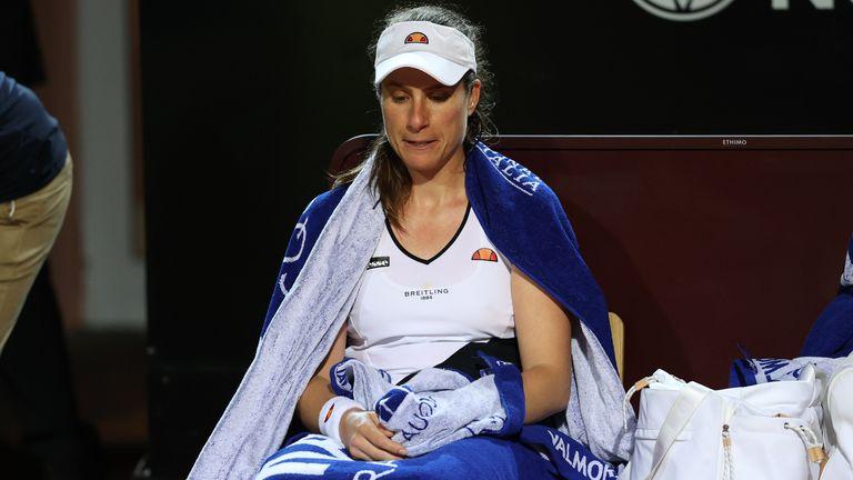 Johanna Konta looks dejected after defeat to Jelena Ostapenko