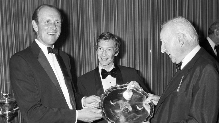 John Dunlop, left, at the 1979 Derby awards after victory in the race the previous year with Shirley Heights