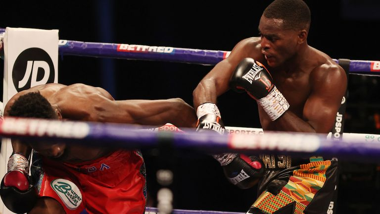 *** FREE FOR EDITORIAL USE ***.Joshua Buatsi and Daniel Blenda Dos Santos, WBA International Light-Heavyweight Title, AO Arena, Machester..15 May 2021.Picture By Mark Robinson Matchroom Boxing..