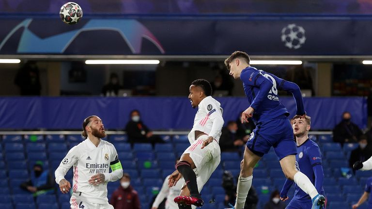 Chelsea missed several huge chances in the second half, including this Kai Havertz header off the bar