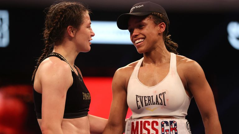 *** FREE FOR EDITORIAL USE ***.Katie Taylor vs Natasha Jonas, WBC, WBA, IBF and WBO Female Lightweight Title Fight..1 May 2021.Picture By Mark Robinson Matchroom Boxing..Katie Taylor declared winner.