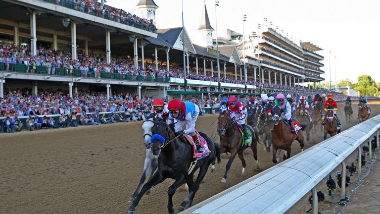 LOUISVILLE, KY - MAY 01: Medina Spirit (8) ridden by jockey John Velazquez leads on the front stretch and goes on to win the 147th Running of the Kentucky Derby on May 1, 2021 at Churchill Downs in Louisville, Kentucky. (Photo by Brian Spurlock/Icon Sportswire) (Icon Sportswire via AP Images)