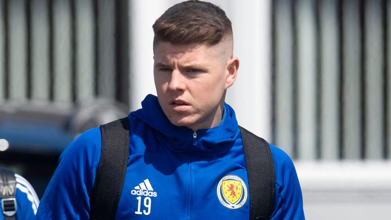 GLASGOW, SCOTLAND - MAY 27: Scotland's Kevin Nisbet pictured as Scotland depart for Spain from Glasgow Airport, on May 27, 2021, in Glasgow, Scotland.  (Photo by Craig Foy / SNS Group)