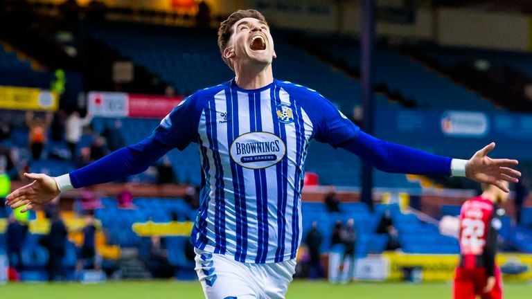 Kyle Lafferty celebrates after scoring to make it 2-0 during the Scottish Premiership match between Kilmarnock and St Mirren at the BBSP Stadium Rugby Park