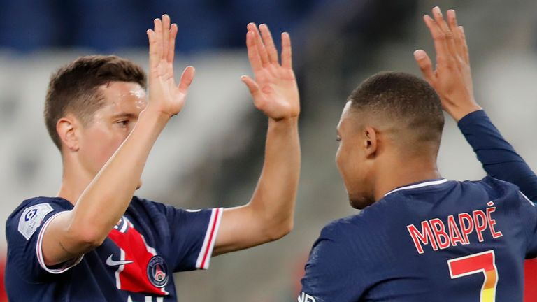 Kylian Mbappe scored his 26th Ligue 1 goal of the season on Sunday