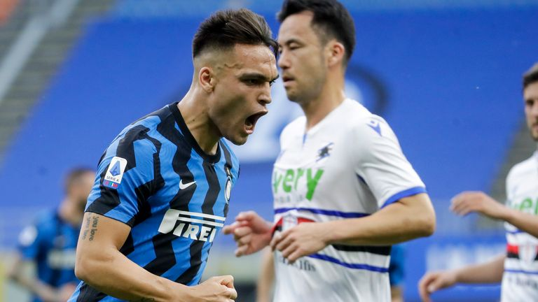 Inter Milan's Lautaro Martinez celebrates after he scored his side's fifth